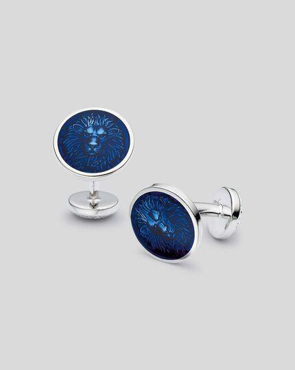 Runde Emaille-Manschettenknöpfe mit Löwen-Design - Marineblau