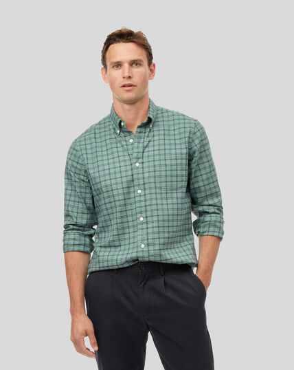 Chemise twill doux délavé à carreaux et col boutonné sans repassage - Bleu canard