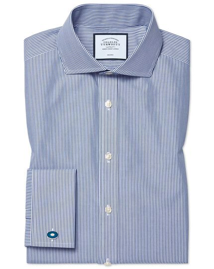 Slim fit spread collar non-iron Bengal stripe navy shirt