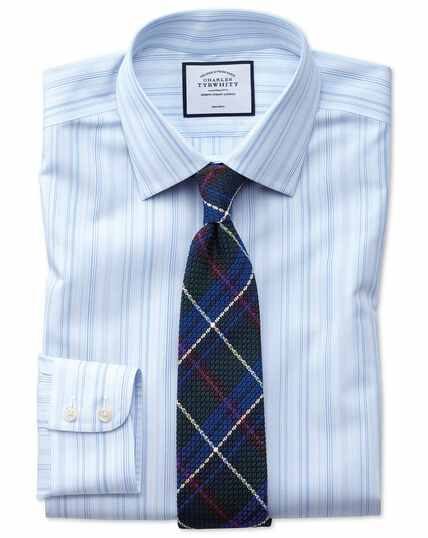 Slim fit non-iron blue multi stripe shirt