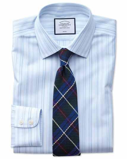 Bügelfreies Slim Fit Hemd mit bunten Streifen in Blau