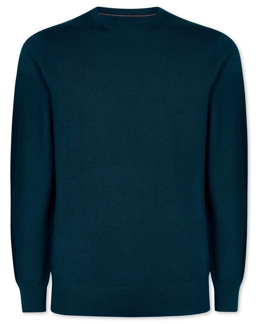 Teal merino crew neck sweater