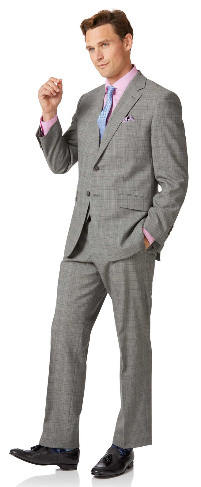 Grey Prince of Wales classic fit Panama business suit