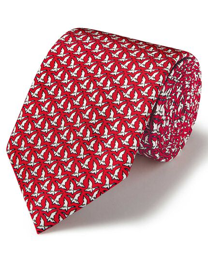 Red & white flying duck print silk classic tie