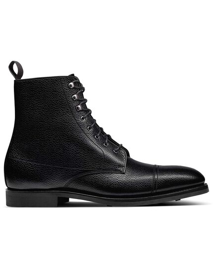Black Goodyear welted toe cap boots