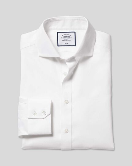 Cutaway Collar Non-Iron Cotton Stretch Shirt - White
