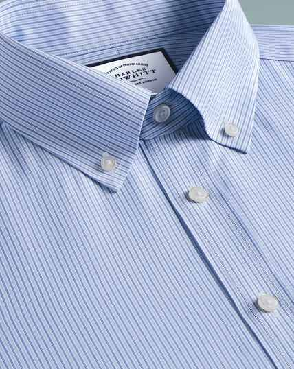 Non-Iron Stripe Button-Down Shirt - Blue