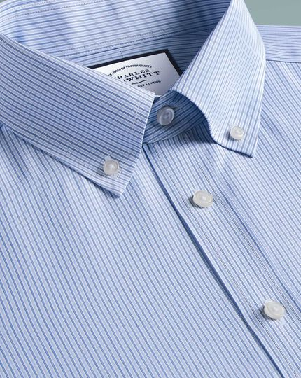 Slim fit non-iron stripe button-down blue shirt