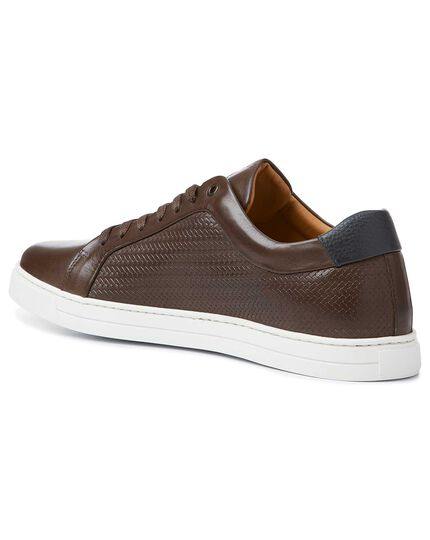 Brown textured leather trainers
