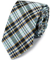 Blue and gold linen silk check classic tie