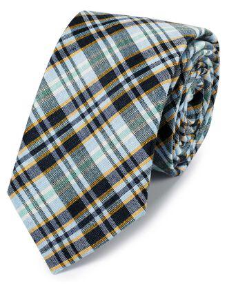 Cravate classique bleue et or en lin et soie à carreaux