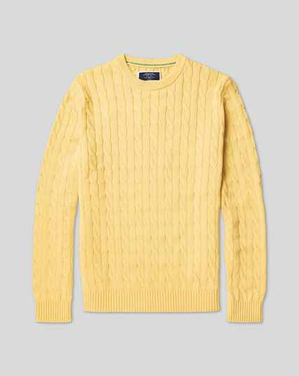 Pima Cotton Cable Jumper - Yellow