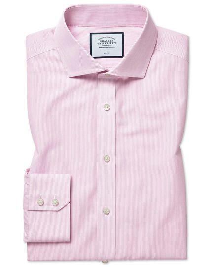 Extra slim fit non-iron Tyrwhitt Cool poplin pink stripe shirt