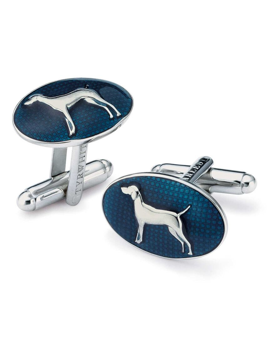 Oval lacquer dog cufflinks