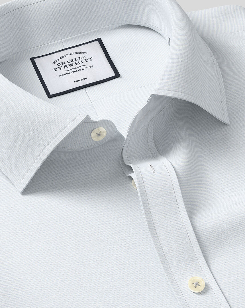 Classic Collar Non-Iron Cotton Slub Shirt - Light Blue