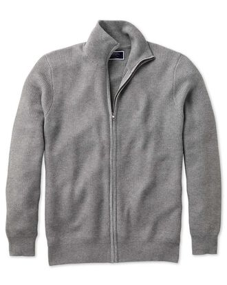 Silver pima cotton textured zip through cardigan