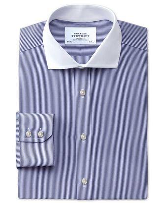 Extra slim fit cutaway collar non-iron Winchester bengal stripe navy shirt