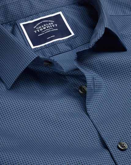Stretch Poplin Micro Dot Print Shirt - Navy