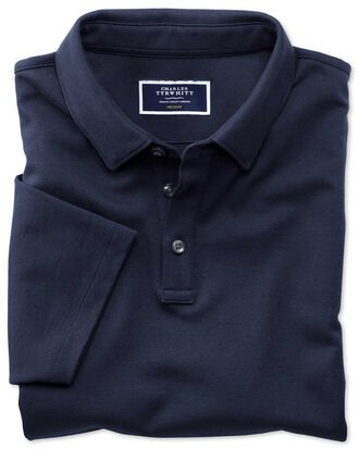Navy jersey polo shirt
