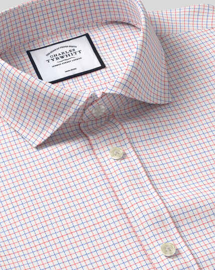 Spread Collar Non-Iron Cotton Stretch Check Shirt - Coral