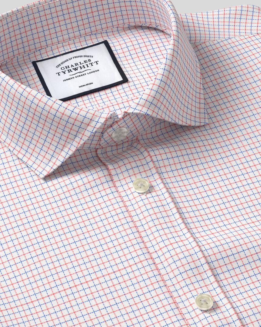 Cutaway Collar Non-Iron Cotton Stretch Check Shirt - Coral