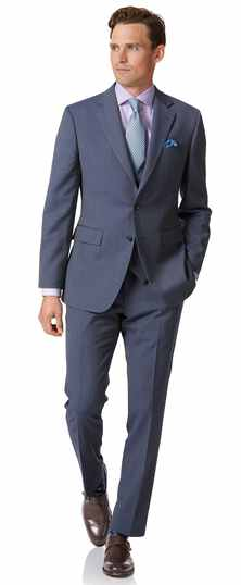 Slim Fit Business-Anzug mit Fischgrätmuster in Hellblau