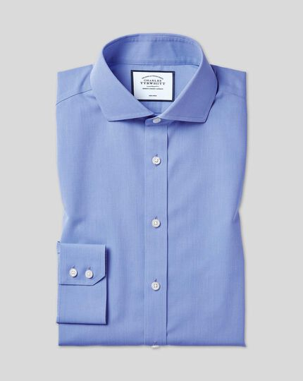 Cutaway Collar Non-Iron Tyrwhitt Cool Poplin Shirt - Mid Blue