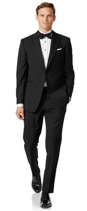 Black slim fit peak lapel tuxedo suit