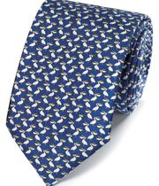 Klassische Krawatte mit Pelikanmuster in Marineblau
