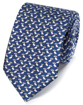 Cravate classique bleu marine avec imprimé pélicans
