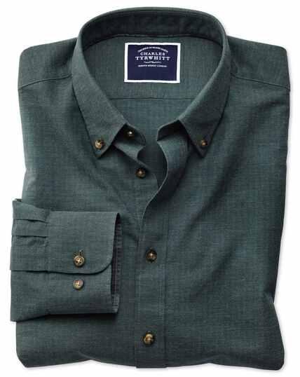 Classic fit green herringbone melange shirt