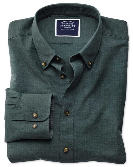 Classic fit green herringbone melange shirt