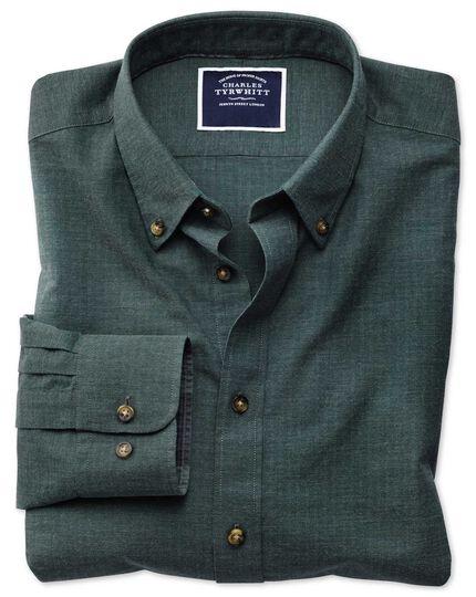 Extra slim fit green herringbone melange shirt