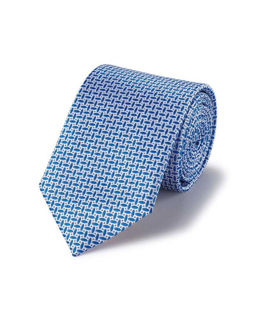 Stain Resistant Silk Oval Print Tie - Royal Blue & White