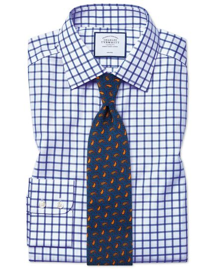 Slim fit non-iron royal blue grid check twill shirt