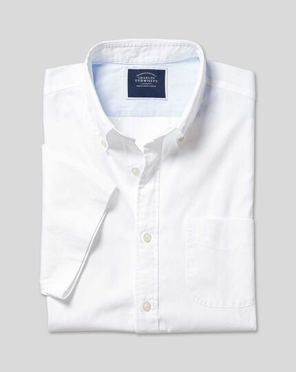 Button-Down Collar Short Sleeve Washed Oxford Shirt - White