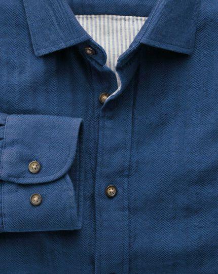 Slim fit blue double face shirt