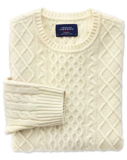 Cream lambswool cable crew neck jumper