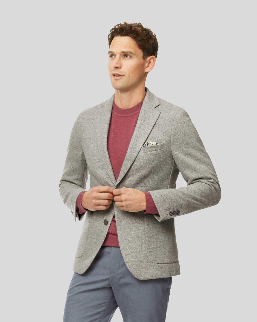Herringbone Wool Mix Jacket - Light Grey