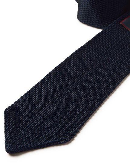 Navy silk knitted slim tie