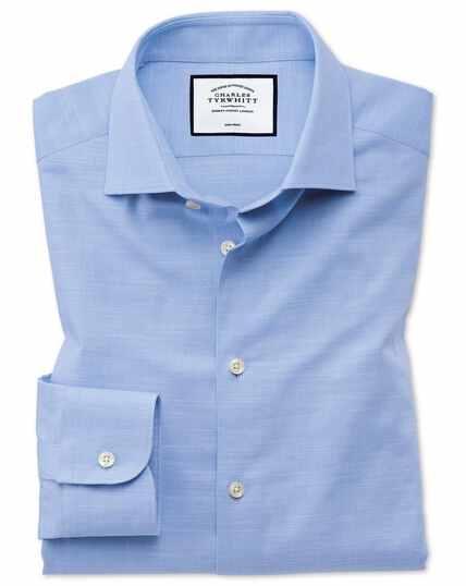 Business-Casual Slim Fit Hemd aus ägyptische Slub-Baumwolle in Himmelblau