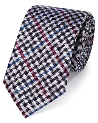 Berry and blue gingham check classic silk tie