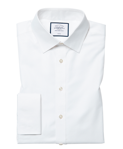 Extra slim fit white non-iron twill cutaway collar shirt