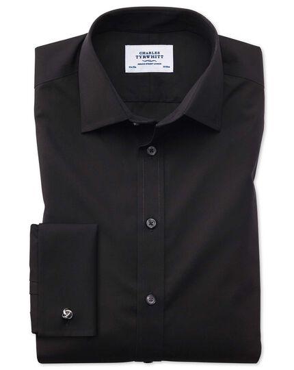 Classic fit non-iron poplin black shirt