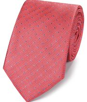 Coral and blue silk textured spot classic tie