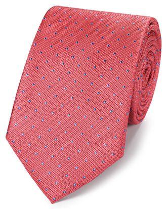 Klassische Krawatte aus Seide mit Punkten in Strukturgewebe in Korallenrot und Blau