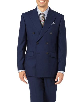 Indigo slim fit Panama puppytooth business double breasted suit
