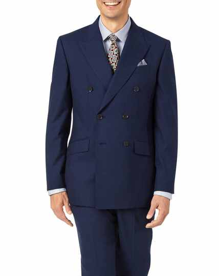 Indigo slim fit Panama puppytooth business suit jacket