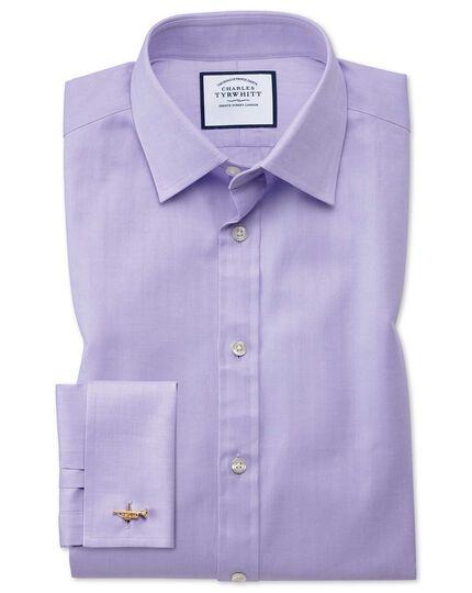 Extra slim fit fine herringbone lilac shirt