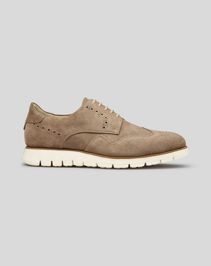 Suede Hybrid Trainers  - Light Brown